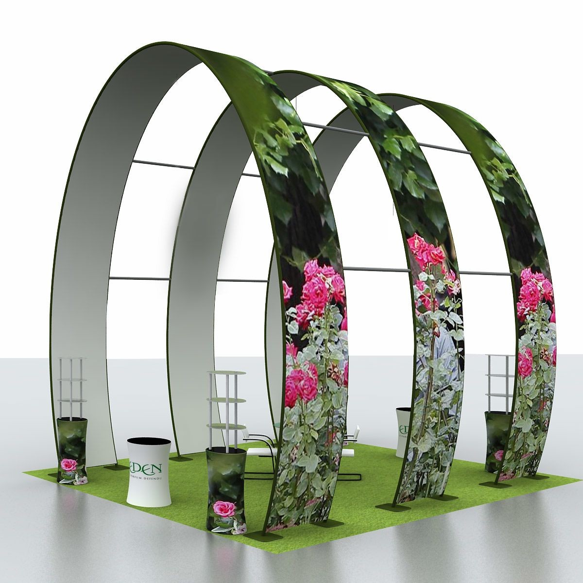 20 Foot by 60 Foot Tension Fabric Display with Ground Arch