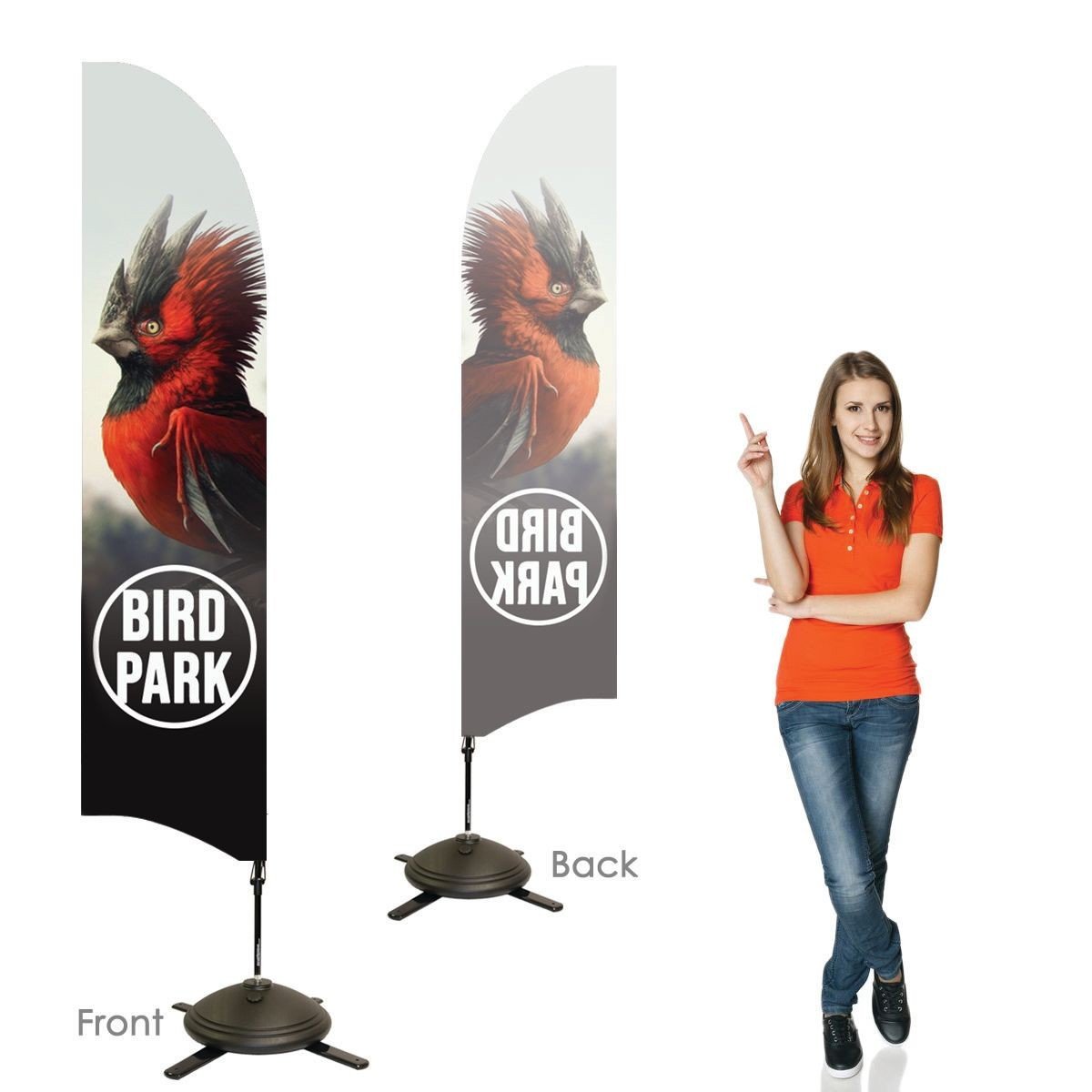 Single Sided Bowhead Banners with Left Facing Graphics