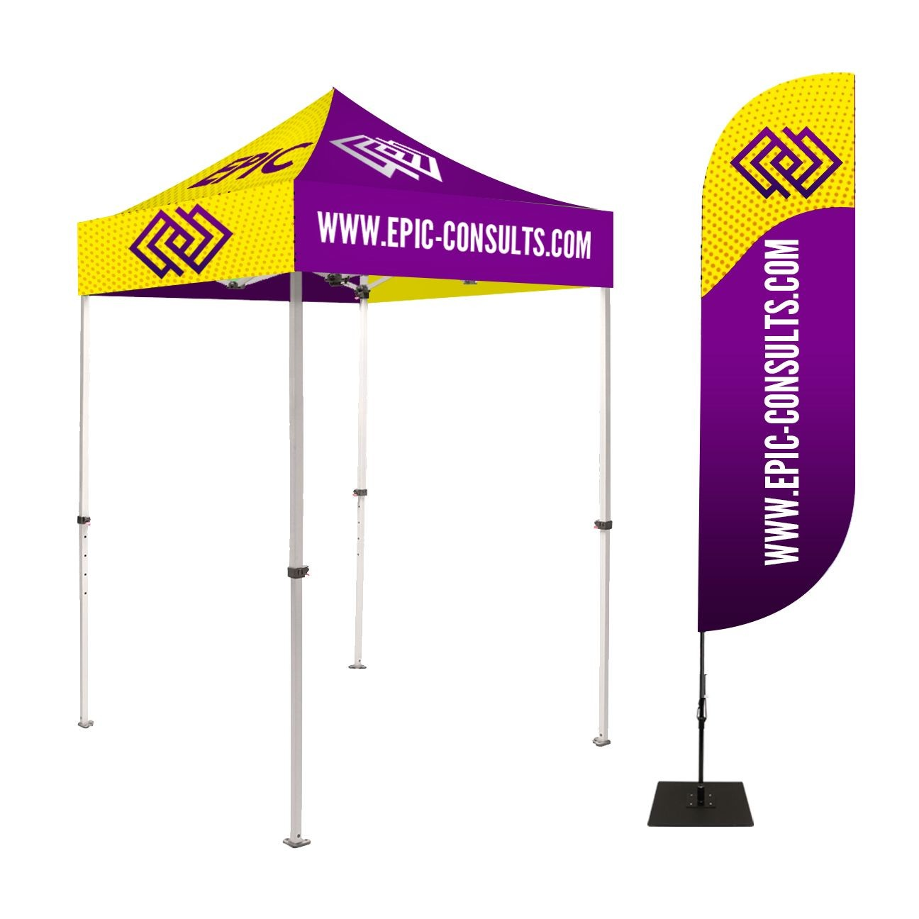 5 by 5 Foot Tall Canopy Tents with Feather Banners