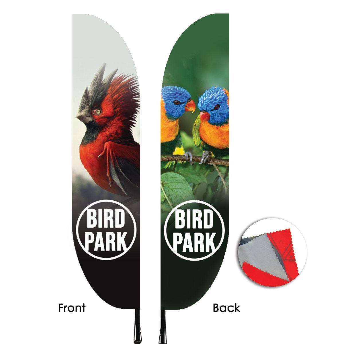 Double Sided Feather Flags Illustration