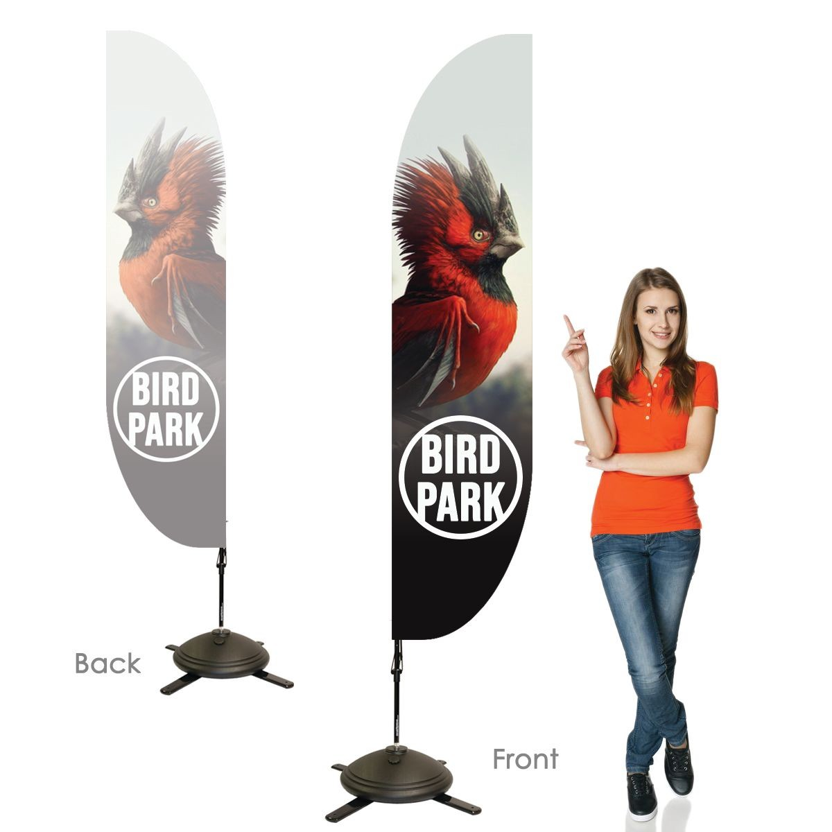 Single Sided Feather Banners with Right Facing Graphics