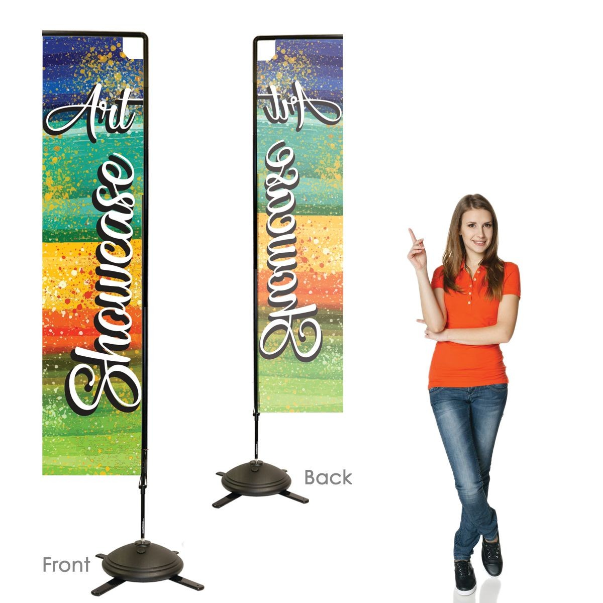 Single Sided Rectangular Banners with Left Facing Graphics