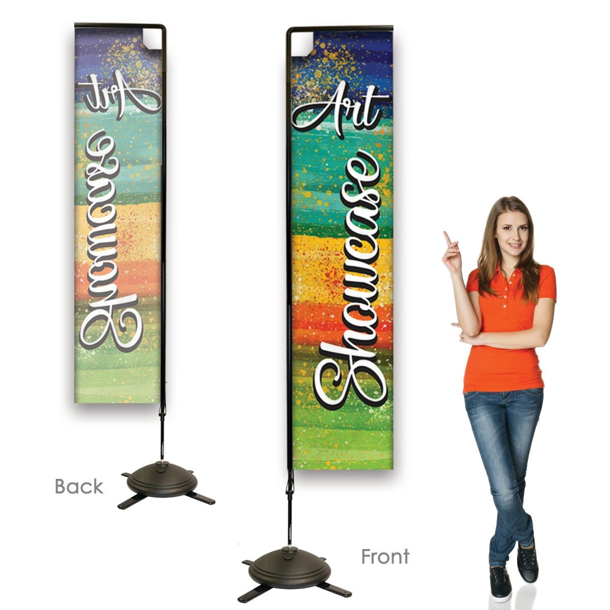 Single Sided Rectangular Banners with Right Facing Graphics