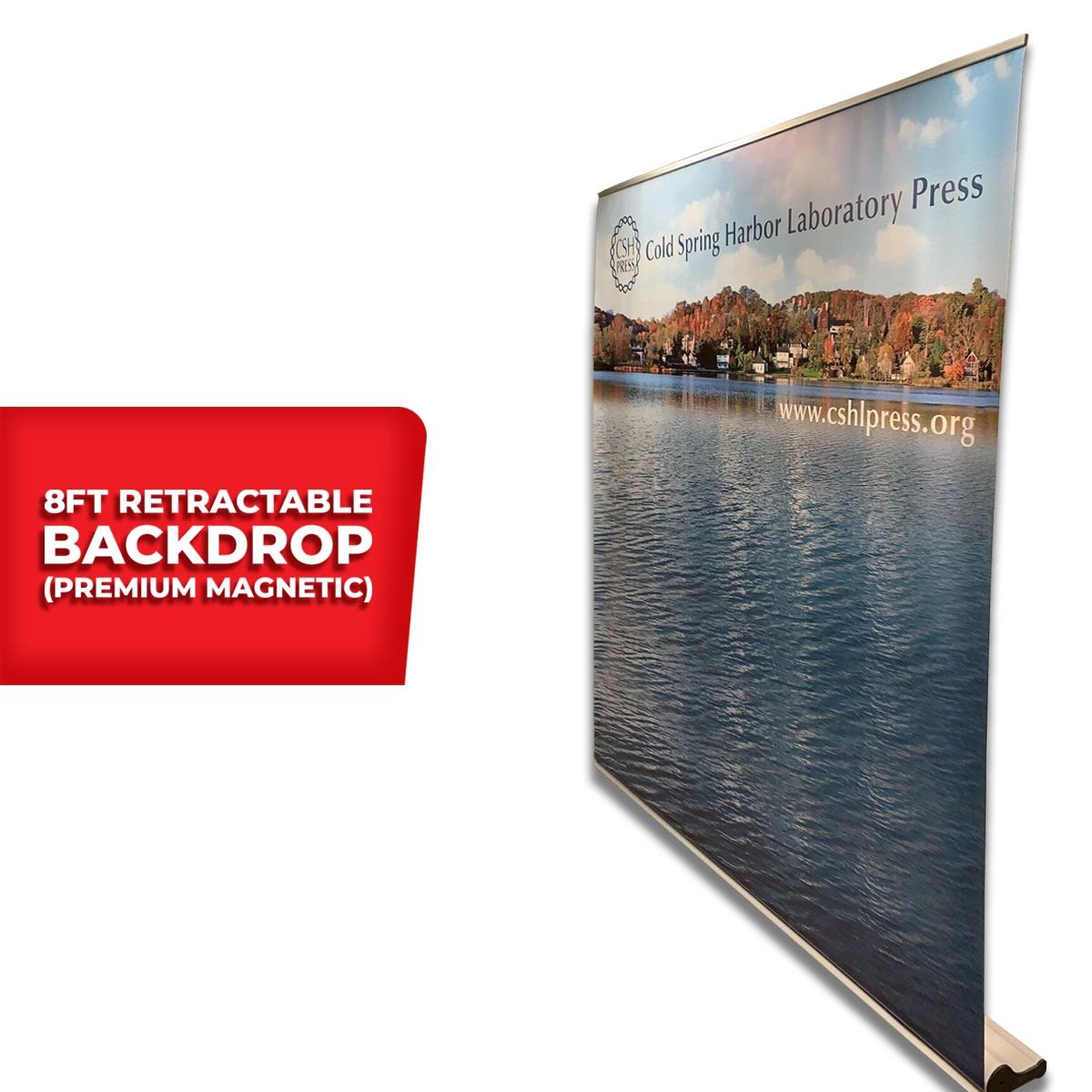Side View of 8 Foot Premium Magnetic Retractable Backdrop Stand