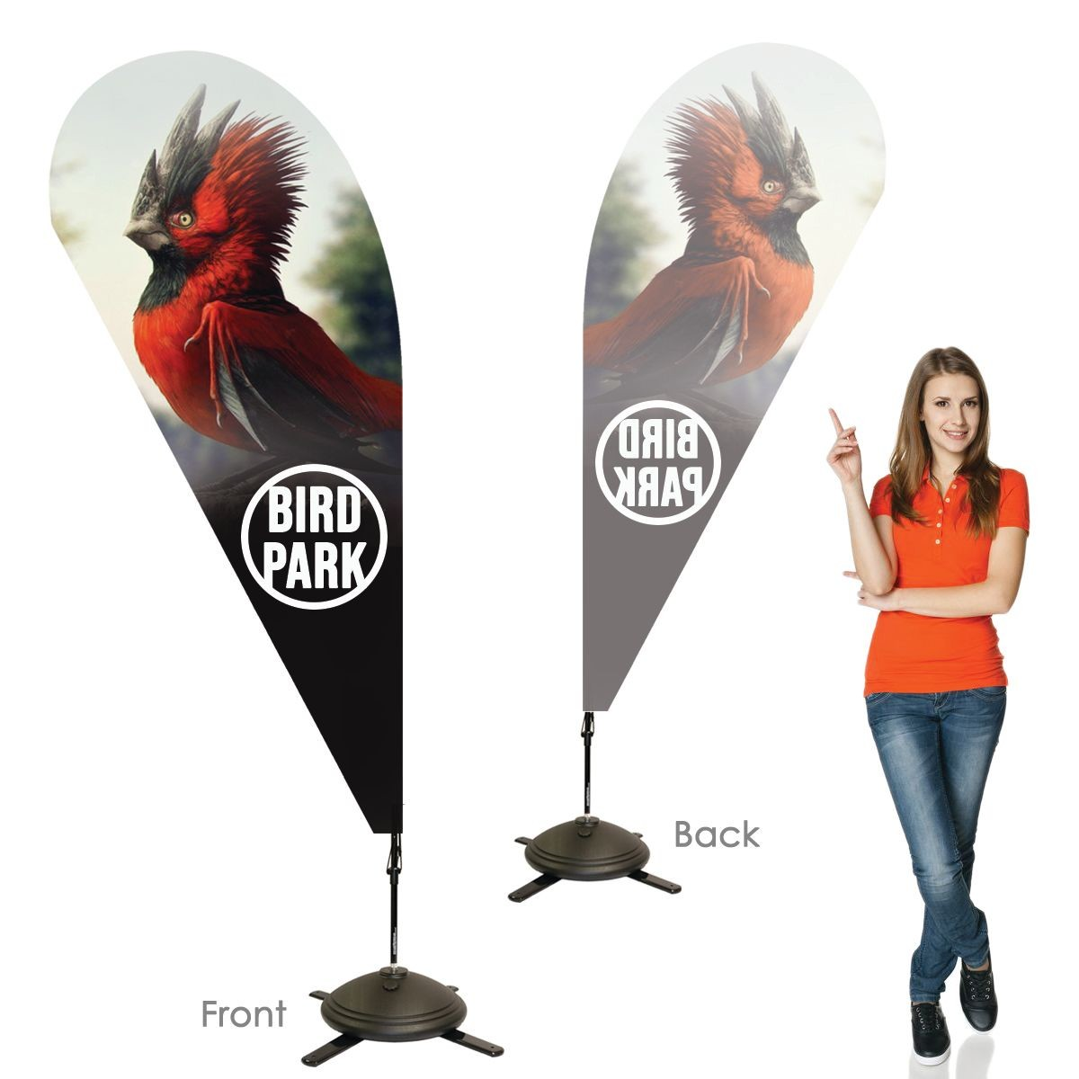 Single Sided Teardrop Banners with Left Facing Graphics
