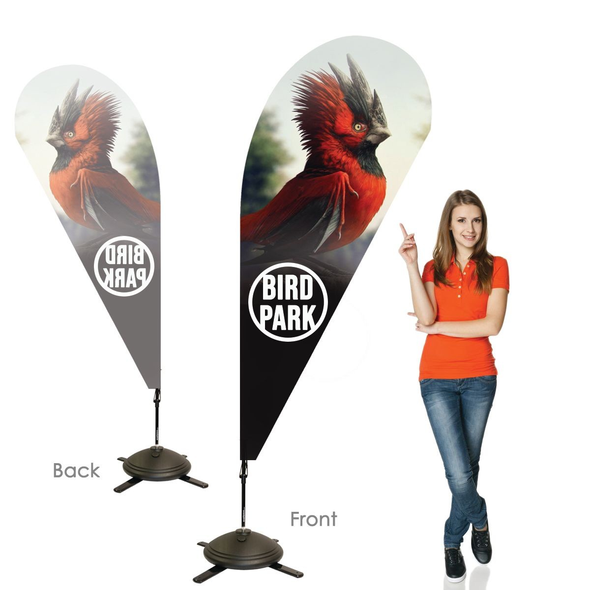 Single Sided Teardrop Banners with Right Facing Graphics