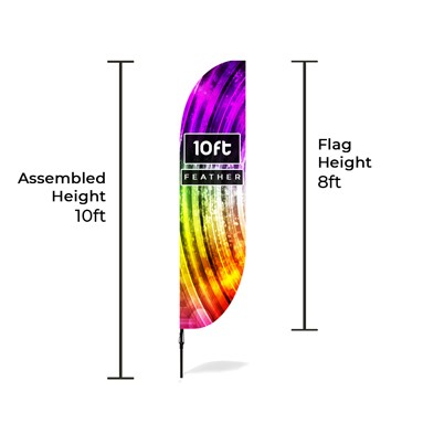 Medium Large Feather Banners Size Chart