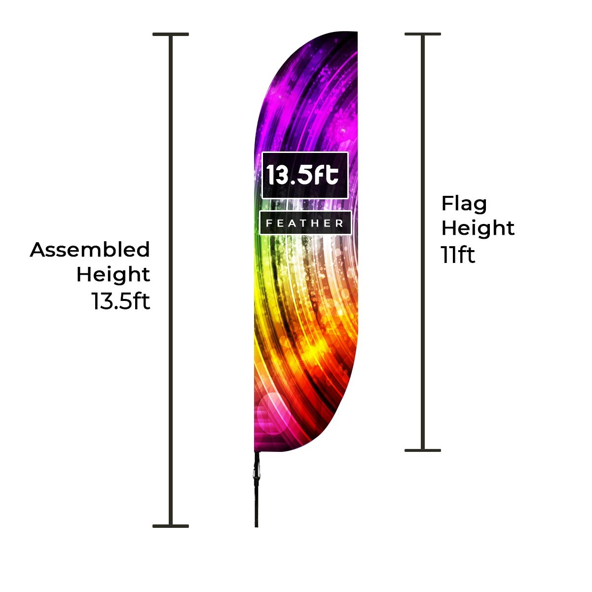 Large Feather Banners Size Chart