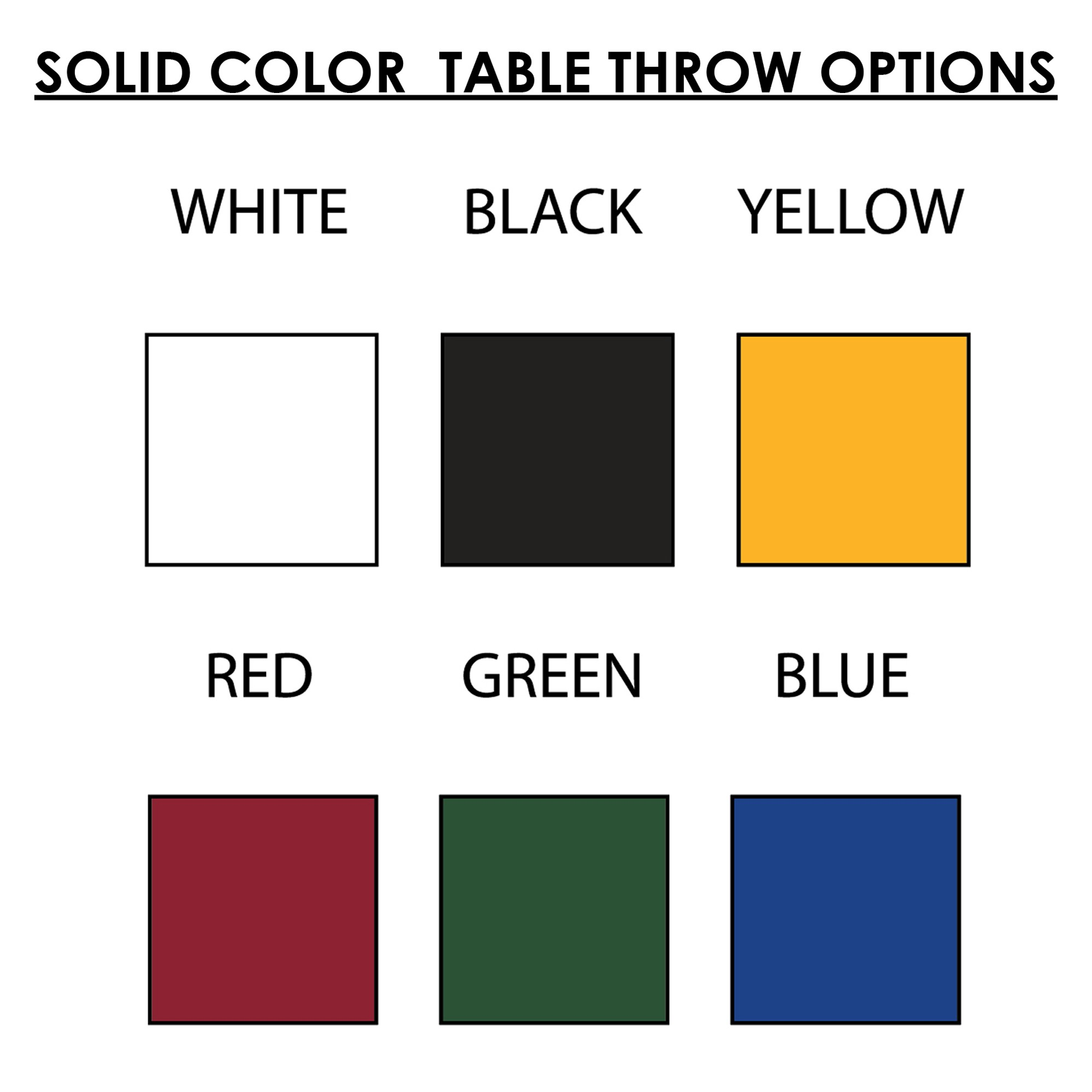 Solid Color Table Throw Options