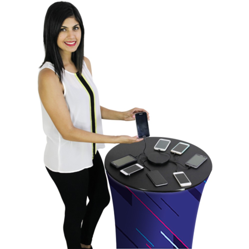 Model Using  Custom Charging Trade Show Counter