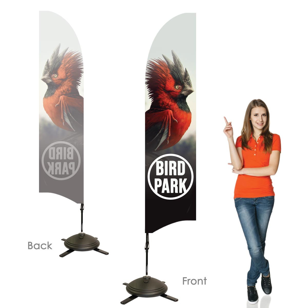 Single Sided Bowhead Banners with Right Facing Graphics